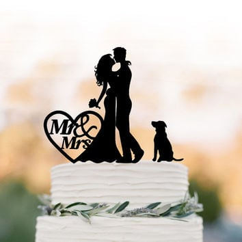 Funny Wedding Cake topper mr and mrs, Cake Toppers with dog, couple  silhouette, cake toppers bride and groom with heart decor