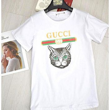 GUCCI Trending Loose Cat Print Round Collar T-Shirt Pullover Top Blouse White