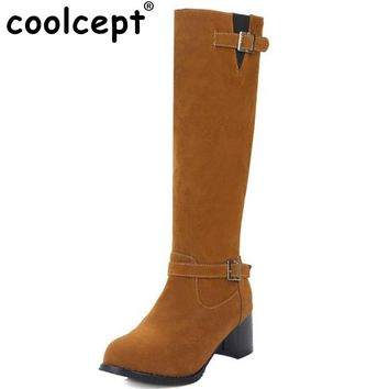 Coolcept Women Square Heel Knee Boots Female Suede Leather Buckle Style Knight Botas Brand Heeled Footwear Woman Size 34-43