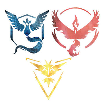 Pokemon Go Watercolor Team Valor, Mystic and Instinct Symbol Clipart | Hi-Res PNG files, No background, DIY Invitations, Posters & More