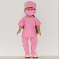American Girl Doll Clothes Pink Surgical Scrubs for Doctor or Nurse with Mask and Cap