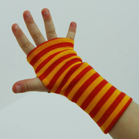 Toddler Arm Warmers in Sunny Side Up - Orange Stripes - Fingerless Gloves