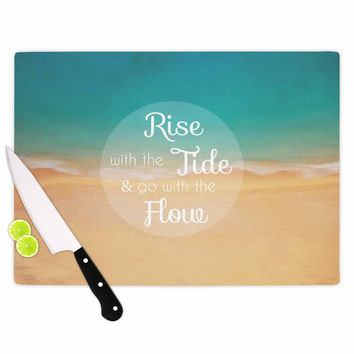 """Alison Coxon """"Rise With The Tide"""" Teal Brown Cutting Board"""