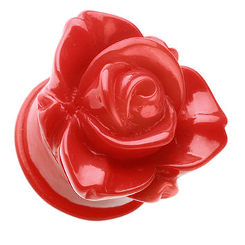 Wild Rose Flower Blossom Single Flared Ear Gauge Plug
