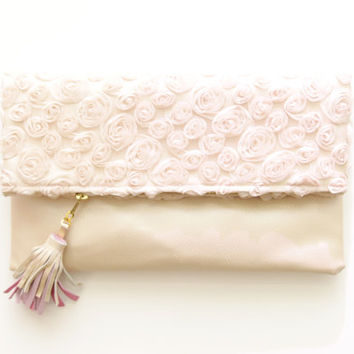 THE BRIDE 3/ Tulle roses & Leather folded clutch- Ready to Ship