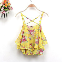 2017 Women Shirts Crop Top Tanks Top Summer Clothing Strap Floral Print Chiffon Shirt Vest Blouses Sexy Tanks Tops Female