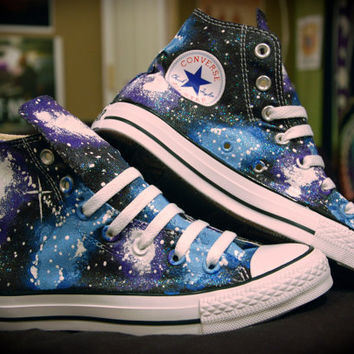 Blue and Purple Galaxy Shoes Converse High Tops