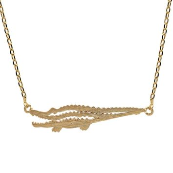 Handmade Brushed Metal Alligator Necklace