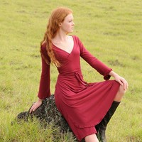 Red Wrap Dress for Women Organic Cotton Soy Jersey Eco by SoulRole