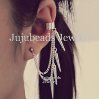 Silver Spikes Cartilage Ear Cuff Earring