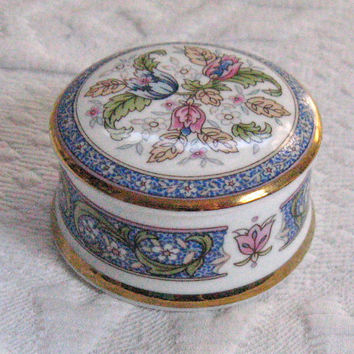 Vintage PORCELAIN PILLBOX with Gold Rim by Falcon China Staffordshire