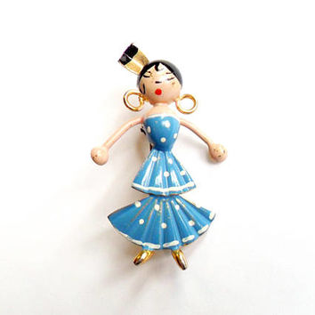 Vintage Flamenco Dancer Brooch Stamped Painted Metal Figural Broach Pin Spain Spanish Blue Polka Dot Woman Lady