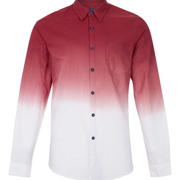 BURGUNDY WHITE DIP DYE LONG SLEEVE SHIRT - Men's Shirts - Clothing - TOPMAN USA