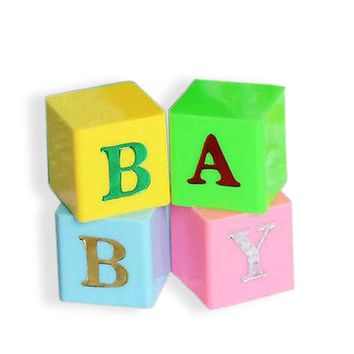 2 Sets Baby Blocks Multi Color Blue Pink Letter Blocks Baby Shower Centerpiece