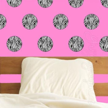 Polka Dots Zebra Print Circles Wall DecalsTeen Girls Room Decor Stickers GD2