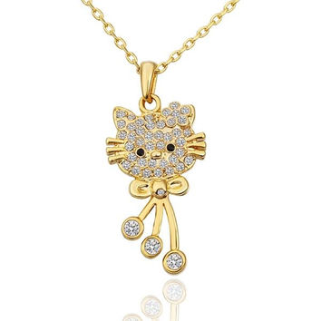 Gold Plated Hello Kitty Inspired Necklace