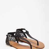 Cutout Faux Leather Sandals