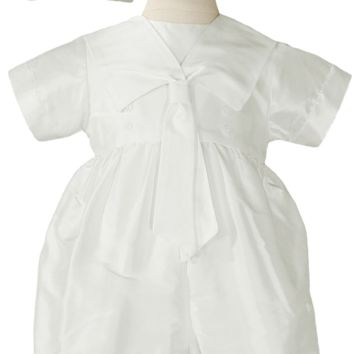 Nautical Knickers 100% Silk Dupioni Handmade Christening Outfit (Baby Boys 0 - 12 months)
