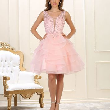 Short Pink Prom Homecoming Dress Winter Formal Low Back