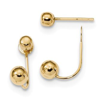 14K Yellow Gold Polished 4mm/5mm Ball Front & Back Earrings