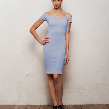 Pastel Blue Off Shoulder Bodycon Bardot Dress with Cut Out