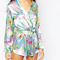 Jaded London Festival Wrap Front Romper In Cactus Print