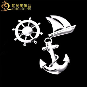 OBN Nautical Navy Anchor Sailboat Rudder Lapel Pins For Men Brooches Suit Collar Pin Corsage Apparel Jewelry Broaches