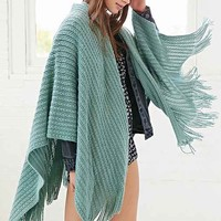 Cozy Knit Open Poncho- Green One