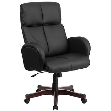 High Back Leather Executive Swivel Office Chair with Fully Upholstered Arms