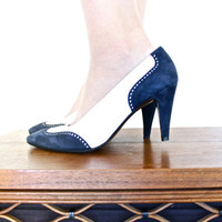 Vintage High Heels - Size 7.5 Navy Blue & White Suede Designer Charles Jourdan Spectator Saddle Shoe Pumps / Wing Tips