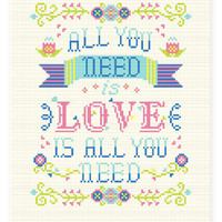 Quote Cross stitch pattern PDF - All you need is love is all you need -Xstitch Instant download - Modern Colorful Typographic Spring Floral