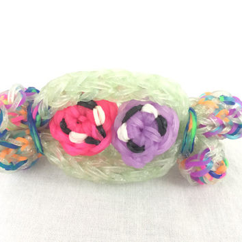3D Happy Candy Roll Candy Comes Out of Wrapper Rainbow Loom Handmade