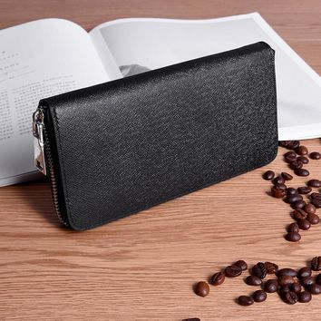 High Quality Genuine Leather Men Wallets Long Zipper Wallet 2018 Business Male Clutch Coin Purse Card Holder Wallet Big Capacity