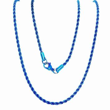 ON SALE - 24 inch Anodized Blue Stainless Steel Rope Chain