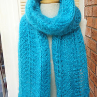 Large Mohair Shawl, Large Hand Knit Mohair Wrap, Hand Knit Mohair Stole, Lace Mohair Large Scarf, Aqua Blue Mohair Scarf