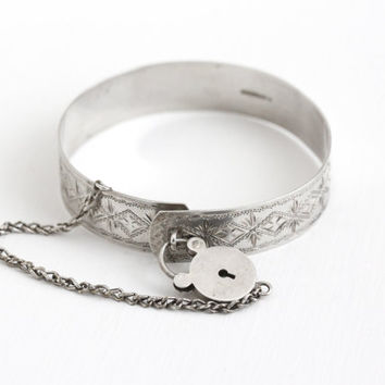 Antique Sterling Silver Padlock & Chain Bracelet - Vintage Edwardian 1910s Engraved Bangle Mongrammed AL AE Lock Charm Jewelry