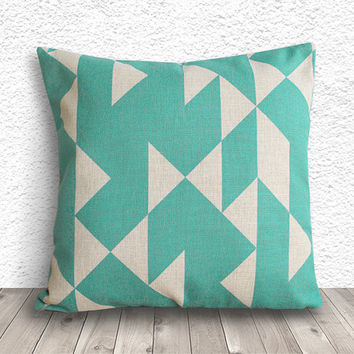 Geometric Pillow Cover, Pillow Cover, Fuschia Pillow Cover, Linen Pillow Cover, 18x18 - Printed Geometric - 010