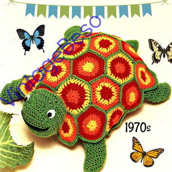 Turtle CROCHET Pattern • Vintage 1970s Crochet Pattern • Digitial Download • made of half dc's and six motifs • Stuffed Animal Instant PDF