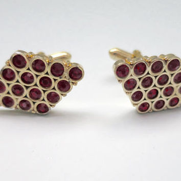 Swank Cuff Links Large Ruby Red Rhinestones Diamond Shape Gold Finish 16 faceted Glass Rhinestones Vintage MidCentury Mens Suit Accessory