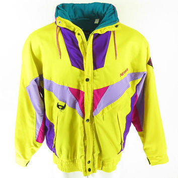 Vintage 80s Nevica Ski Jacket Mens 40 Puffy Hooded Patches Yellow Snowboard [H46W_2-3_Puffy]