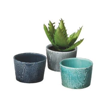 Textured Weave Pattern Pot - Set of 3