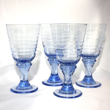 Set of 4 Sirrus Blue Wine Glasses