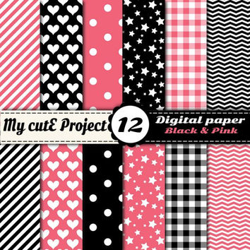 Digital paper pack - Black & Pink - Instant Download - Scrapbooking (12x12 - A4) - Polka dots, star, gindham, chevron, heart, stripes