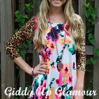 The Bright Side Neon Floral Dress with Leopard Sleeves