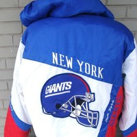 Men Pro Player Casual and STYLISH Colorful New Yorks GIANTS Sports Jacket - Size Large - Excellent Condition