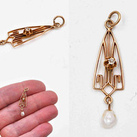 Antique Edwardian 10K Yellow Gold, Diamond & Pearl Lavalier Pendant, Openwork, Triangular, Buttercup, Delicate, Beautiful! #c467