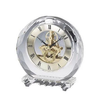 Personalized Free Engraving Crystal Round Desk Clock