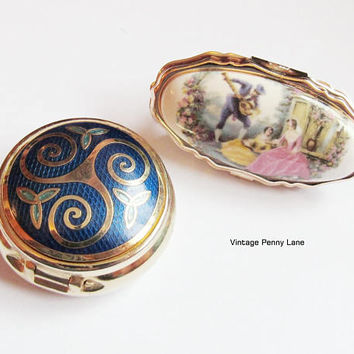 Vintage Cloisonne Pill Box, Ceramic Lipstick Holder Lot