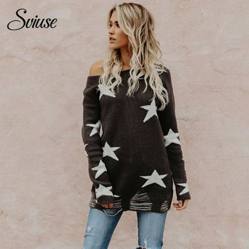 Women's Loose Sweater Sexy Off the Shoulder Stars Knitted Pullovers 2018 Female Korean Harajuku Casual Streetwear Long Sweaters
