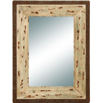 benzara antique looking glass mirror with rustic wood frame